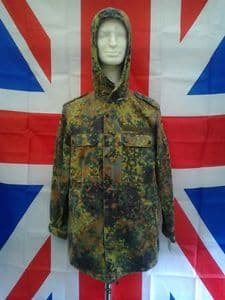 EX ARMY MILITARY GERMAN GREEN CAMO COMBAT JACKET WITH HOOD