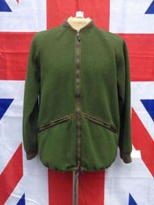 EX ARMY MILITARY OLIVE GREEN FLEECE JACKET KNITTED CUFF