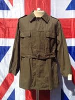 VINTAGE EX ARMY MILITARY OLIVE GREEN JACKET WITH BELT