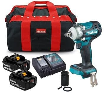 """Makita DTW300TX2 18v LXT Brushless Impact Wrench 1/2"""" Drive 4 Speed (2 x 5.0ah)"""