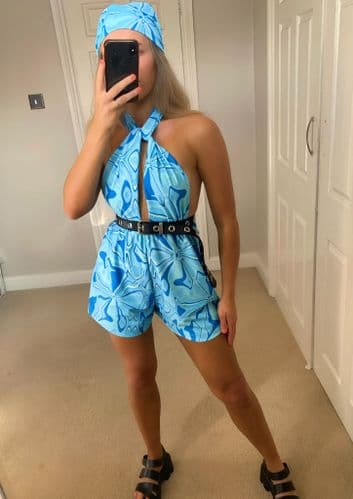 Blue Abstract Swirl Print Playsuit