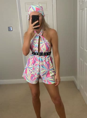 Pastel Abstract Swirl Print Playsuit