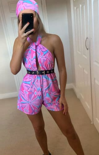 Pink Abstract Swirl Print Playsuit