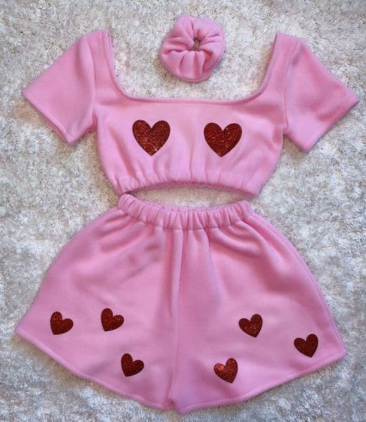 Pink & Red Glitter Heart Set