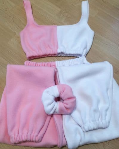Pink & White Crop Top