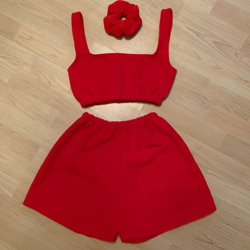 Red Fleece Crop Top