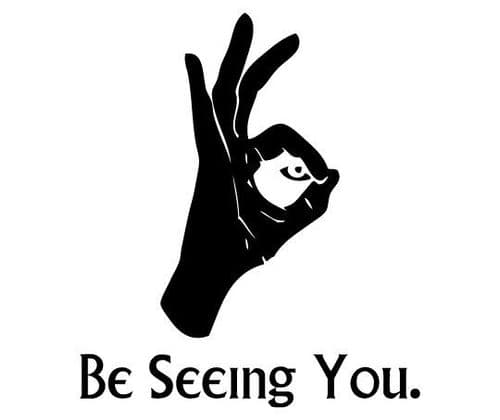 Official Be Seeing You Vinyl Sticker ideal for Cars, Bikes and Lorries