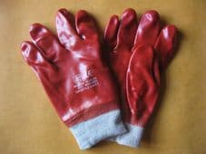10x PAIRS RED PVC KNIT WRIST SAFETY GLOVES