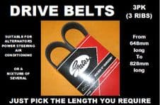 GATES 3PK, 3 RIB DRIVE BELTS, ALTERNATOR BELTS (Choose Length 648mm to 828mm)