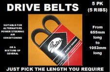 GATES 5PK, 5 RIB DRIVE BELTS, ALTERNATOR BELTS (Choose Length 655mm to 1053mm)