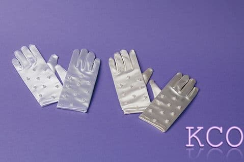 Short Beaded Gloves Ivory~ Special Occasion