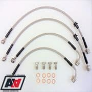 Full Stainless Steel Braided Brake Line Kit Front & Rear Mitsubishi Evo 4 5 & 6