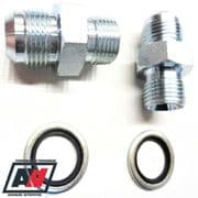 OIL COOLER PIPE HOSE FITTINGS- M22x1.5 AN-8 Male Male Adaptors & Dowty Seals