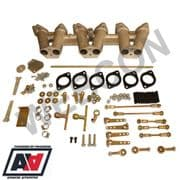 Triumph TR6 PI Inlet Manifold For Weber 40 45 DCOE x 3 With Carb Fitting Kit
