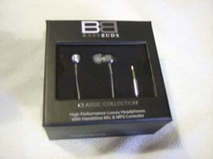 BassBuds Classic Collection Swarovski Crystal Elements In-Ear Headphones platinu