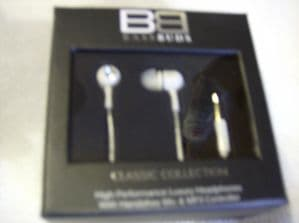 BassBuds Classic Collection Swarovski Crystal Elements In-Ear Headphones white.