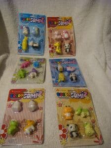 Color Gomiz novelty erasers carded packs  animal, bird and fish mix.