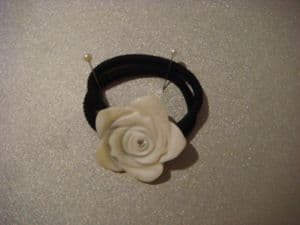 Hair band ponytail holder  white rose in mother of pearl.