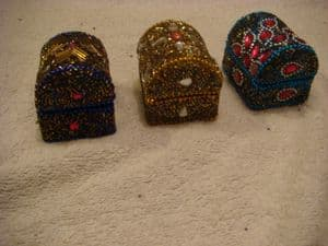 Hand finished bling chests,  set of 3 in  blue, purple and gold.