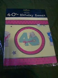 Me To You Tatty Teddy 40th Birthday Banner