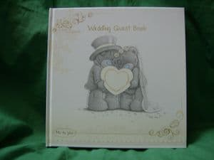 Me To You Tatty Teddy Wedding Guest book..in cream and gold.. wedding