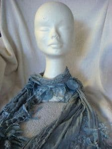 Soft  Long Scarf  lace Blue/grey circles and icicles.