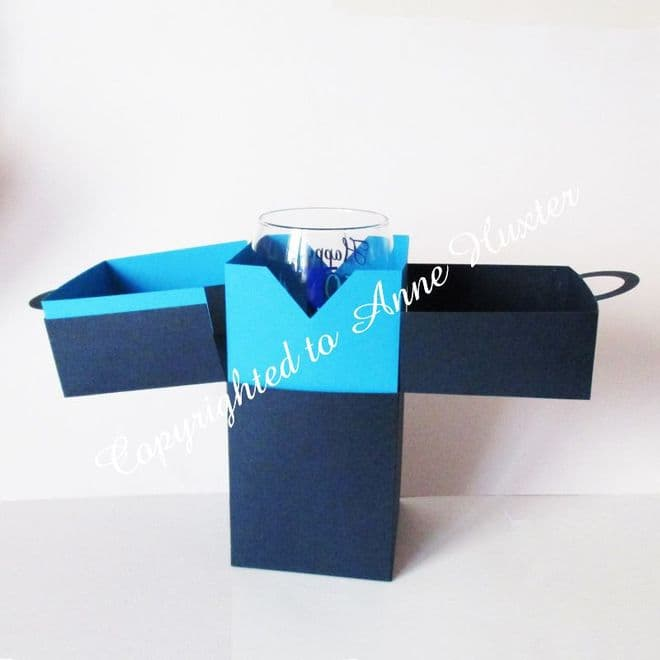 8 inch Tall Wine Glass Box with Handles Template