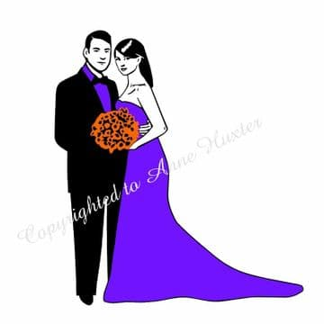 Wedding Couple 2 with Coloured Layers Vinyl Template