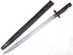 British Pattern 1907 Sanderson made bayonet and scabbard dated 1916, marked pommel  **SOLD**