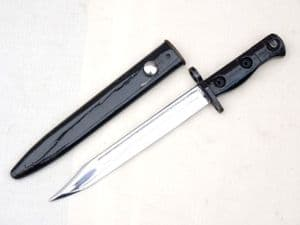British SLR L1A3 bayonet and scabbard,  parade use, 1959 dated  **SOLD**