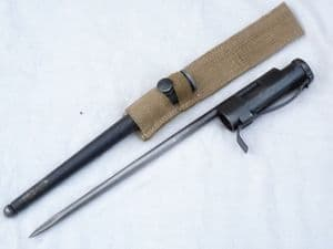 Sten spike bayonet and scabbard complete with 1944 dated frog SOLD