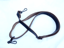 Strong Leather sling with steel hook attachment, black or beige.