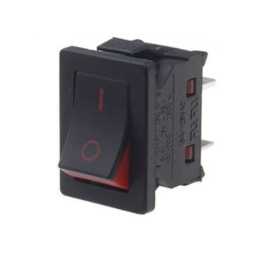 Black and Red Slim Rocker Switch 13mm x 19mm SPST (ML79) TECNO11131191000
