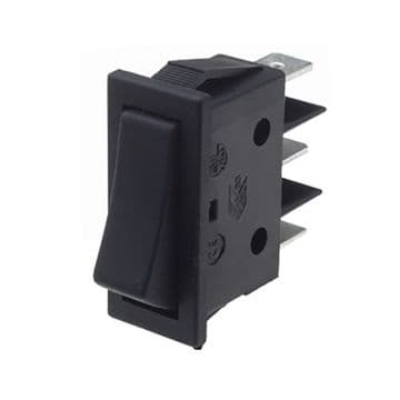 Black Rocker Switch 11mm x 30mm Momentary Centre-Off SPDT (N39KR) B11D411000000