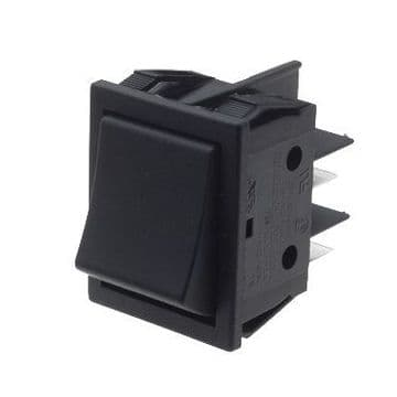 Black Rocker Switch 22mm x 30mm Latching On-Off DPST (GU53) B412C11000000