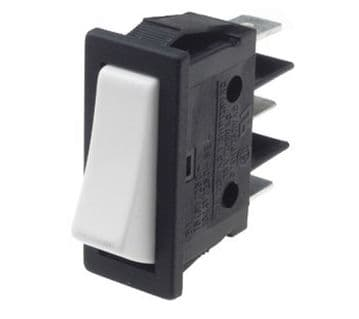 Black with White Rocker Switch 11mm x 30mm 16A SPDT Changeover (GU60) B113C1200000
