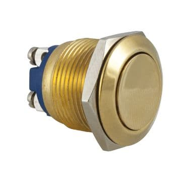 Brass: 19mm IP65 Anti-Vandal Switch, Momentary Action (A65WY)