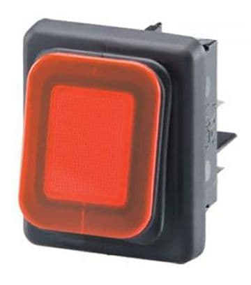 Dust & Splash Proof Rocker Switch 24V On-Off DPST 22mm x 30mm (N55KA) B4MASK48X1R11002