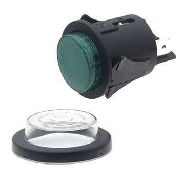 Green Illuminated 25mm Cut-out Push Button. Latching Action (N79EE) SP6018C1E0000
