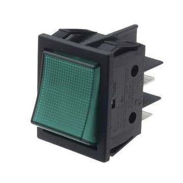 Green Illuminated Rocker Switch 22mm x 30mm 16A Latching On-Off DPST (GU56) B418C1E000000