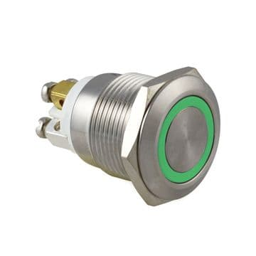 Green Ring Illuminated : 19mm 12V IP65 Anti-Vandal Switch, Momentary Action (A63WY)