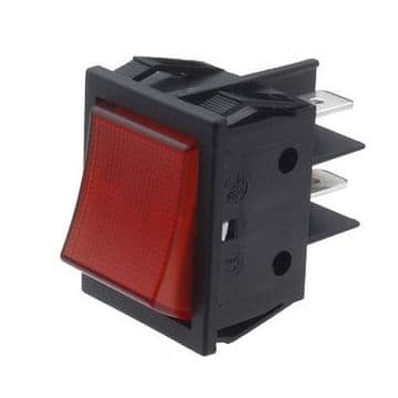 Red Illuminated Rocker Switch 22mm x 30mm Latching On-Off DPST (GU55) B418C1G000000