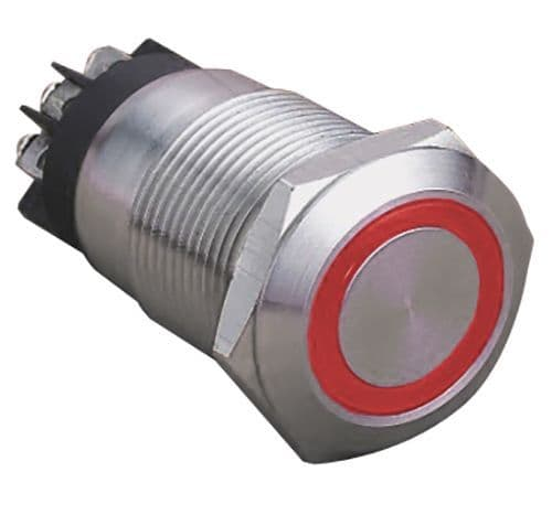 Red Ring Illuminated 12V 19mm IP65 Anti-Vandal Switch, Latching (A49WY)