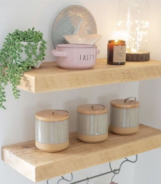 Rustic Wooden Floating Shelf - 22.5cm x 5cm