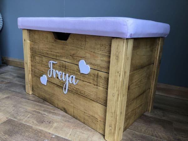 Rustic Wooden Storage Box with Padded Lid