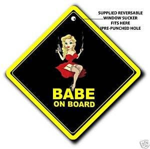 Babe On Board - Car Window Sign - Black