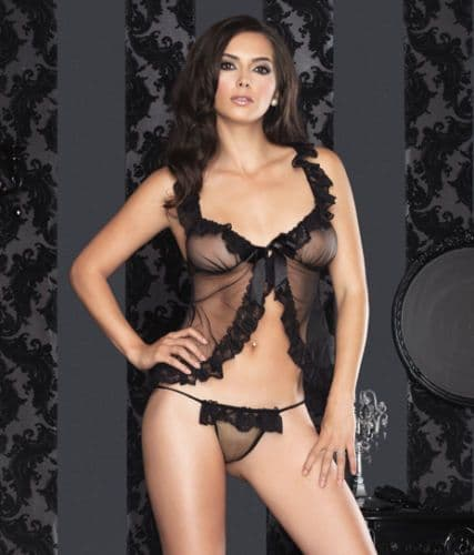 Babydoll and G-String (Leg Avenue 8814) - Black