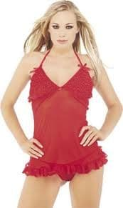 Babydoll and Thong (Classified BD2303) - Red