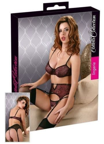 Bra, Suspenders and Thong Set (Cottelli 3321)