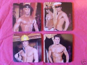 Drink Coasters - Set of 4 - Stringfellows Hunks - Naughty Gift